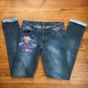 Ed Hardy Skull Logo Cuffed Skinny Jeans Size 27